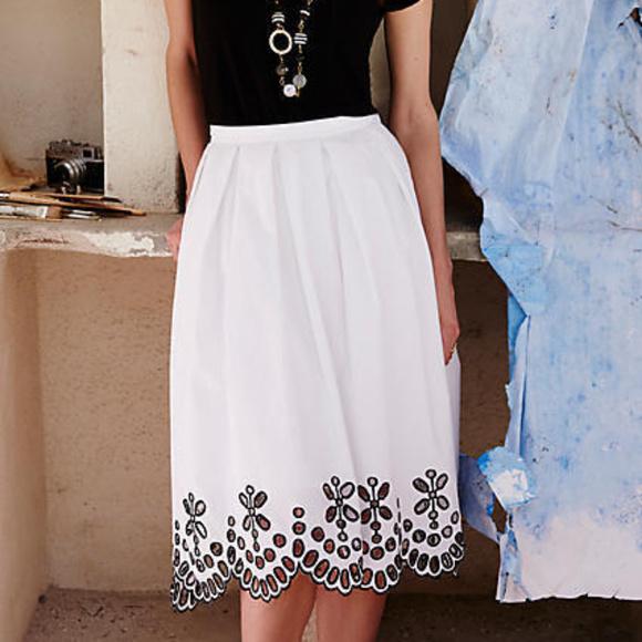 Anthropologie * Moulinette Soeurs Dresses & Skirts - ANTHROPOLOGIE Cotton Poplin Eyelet Skirt 4/6 NWT